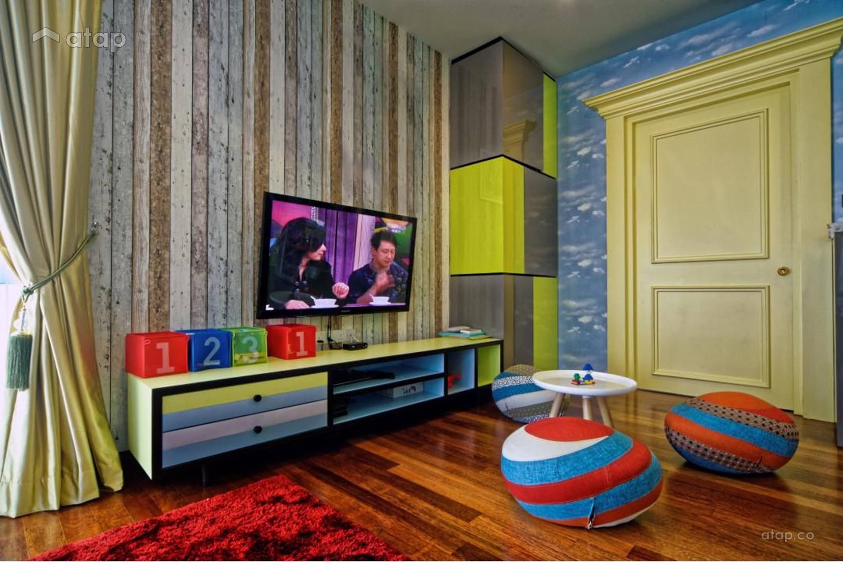 Contemporary Modern Family Room Kids @ Tropicana