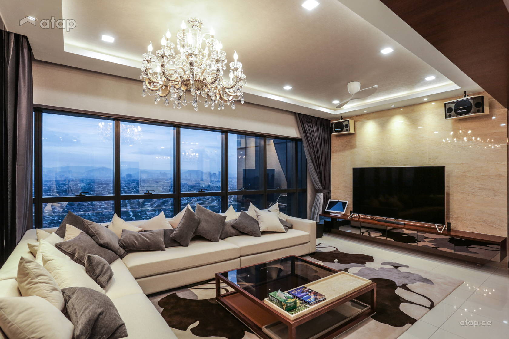 Classic Contemporary Family Room Living Room condominium ...