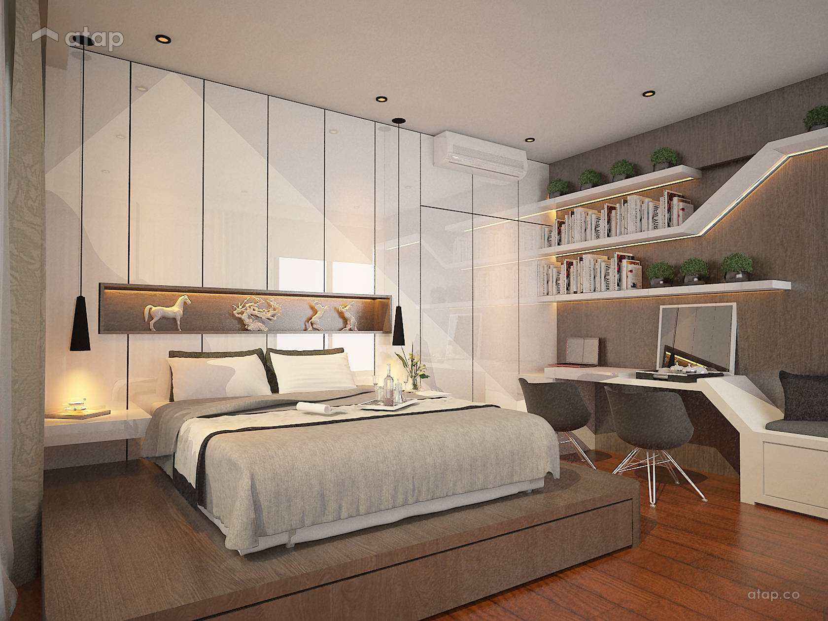 Contemporary Modern Bedroom Study Room condominium design ...