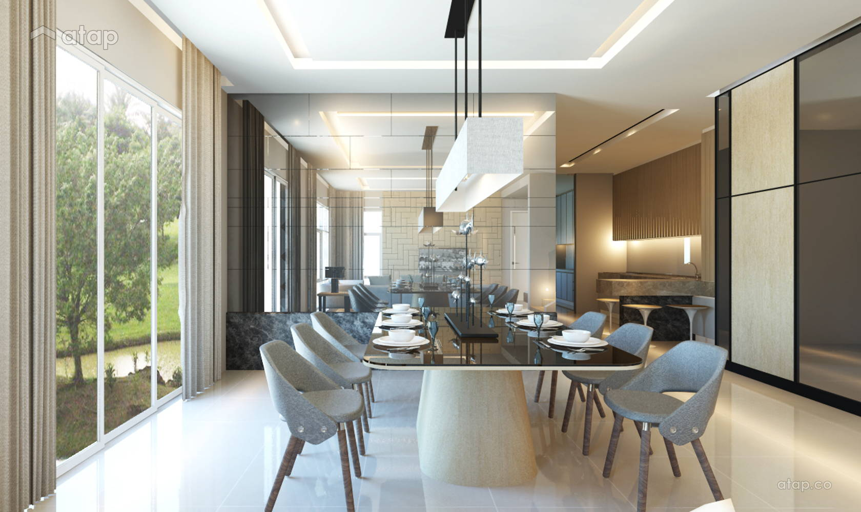 Contemporary Modern Dining Room @ Canary Garden