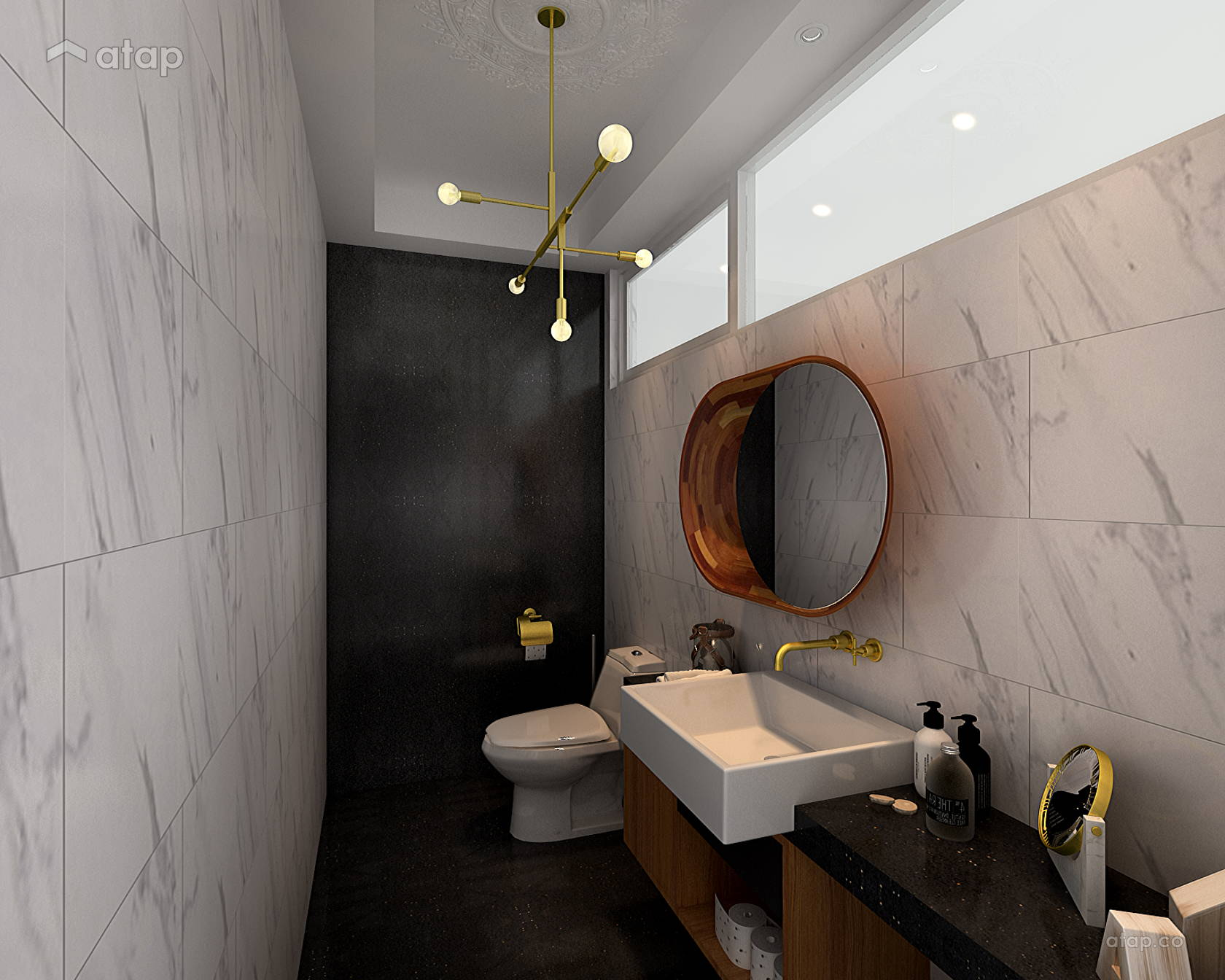 Contemporary Modern Bathroom @ Mazelan Bungalow - (Ginormous Modern Fusion Bungalow.)