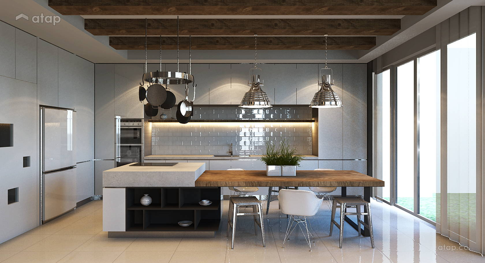 Modern Scandinavian Dining Room Kitchen @ Armanee Terrace (Scandinavian)