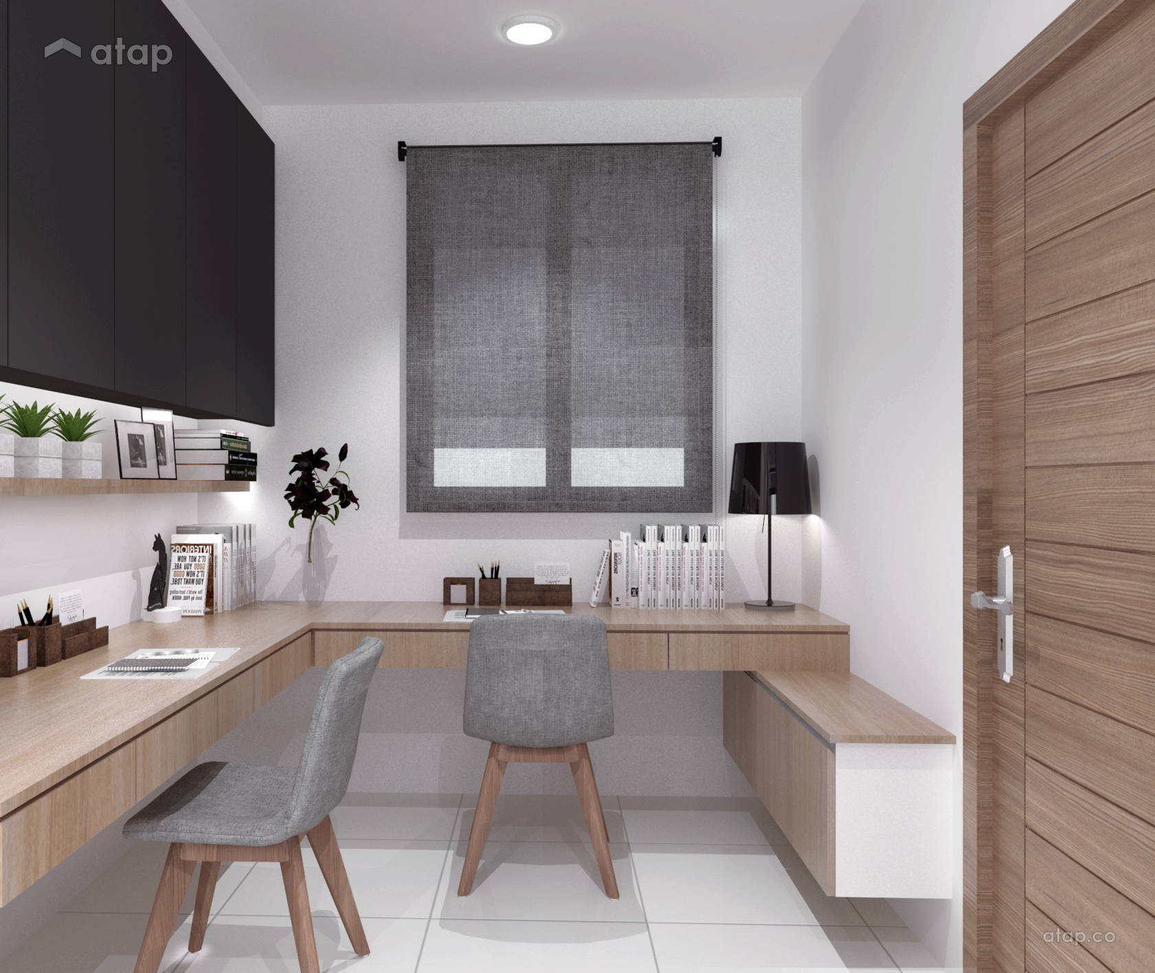 Stylish Understairs Study: Study Room Condominium Design Ideas & Photos Malaysia