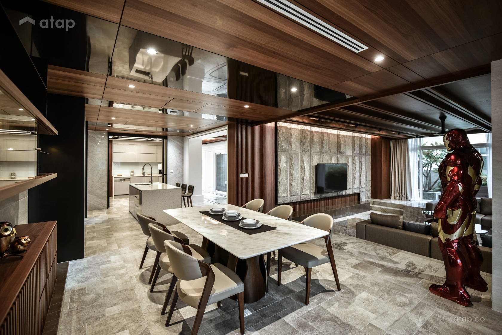 Modern Dining Room Living Room bungalow design ideas ...