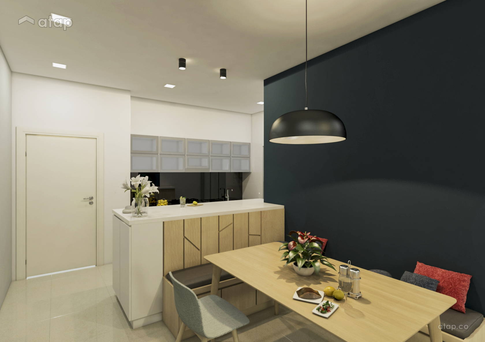 Contemporary Minimalistic Dining Room Kitchen @ Parklane OUG