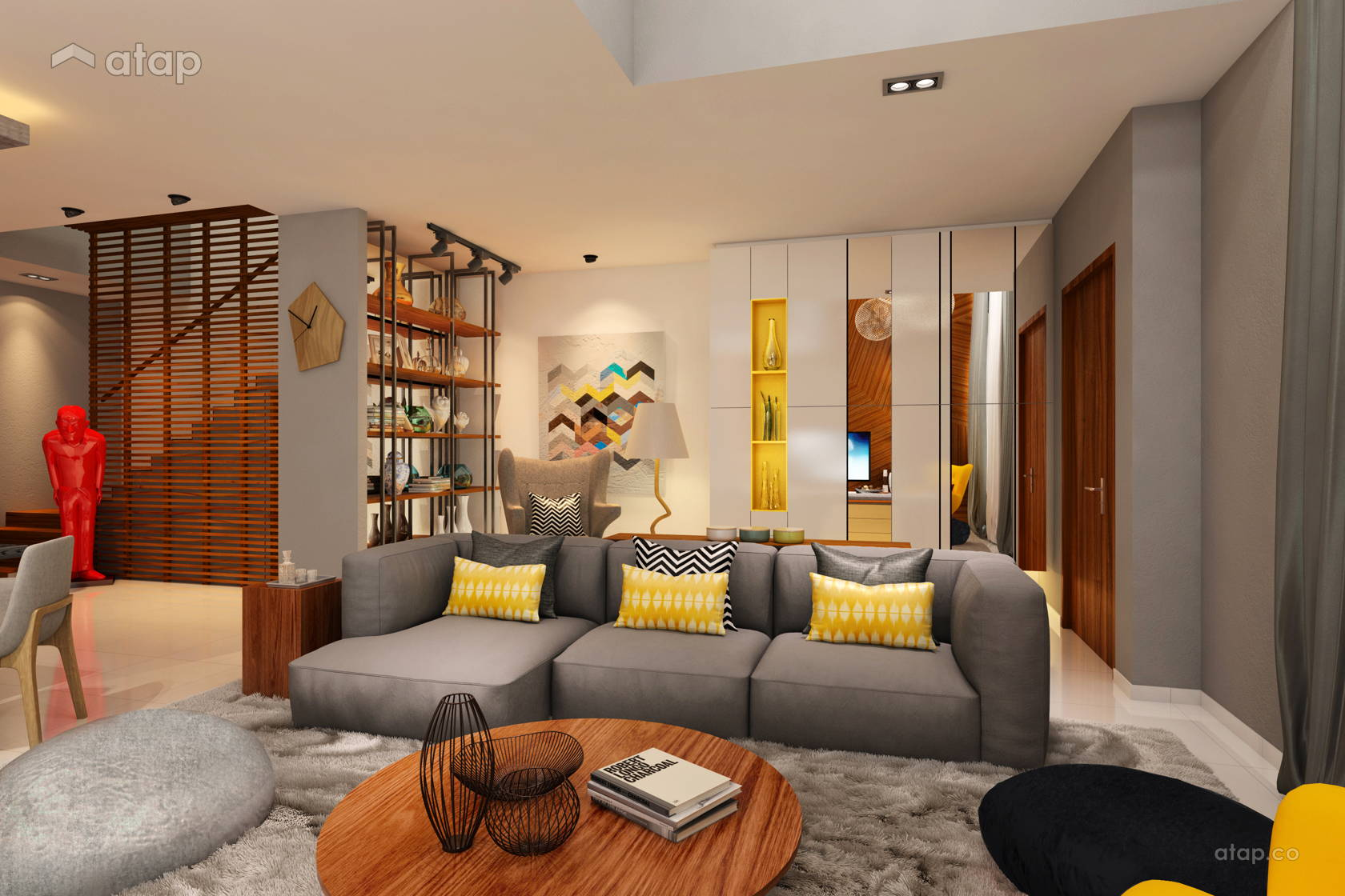 Retro Contemporary Living Room @ Aman Putri Show Unit