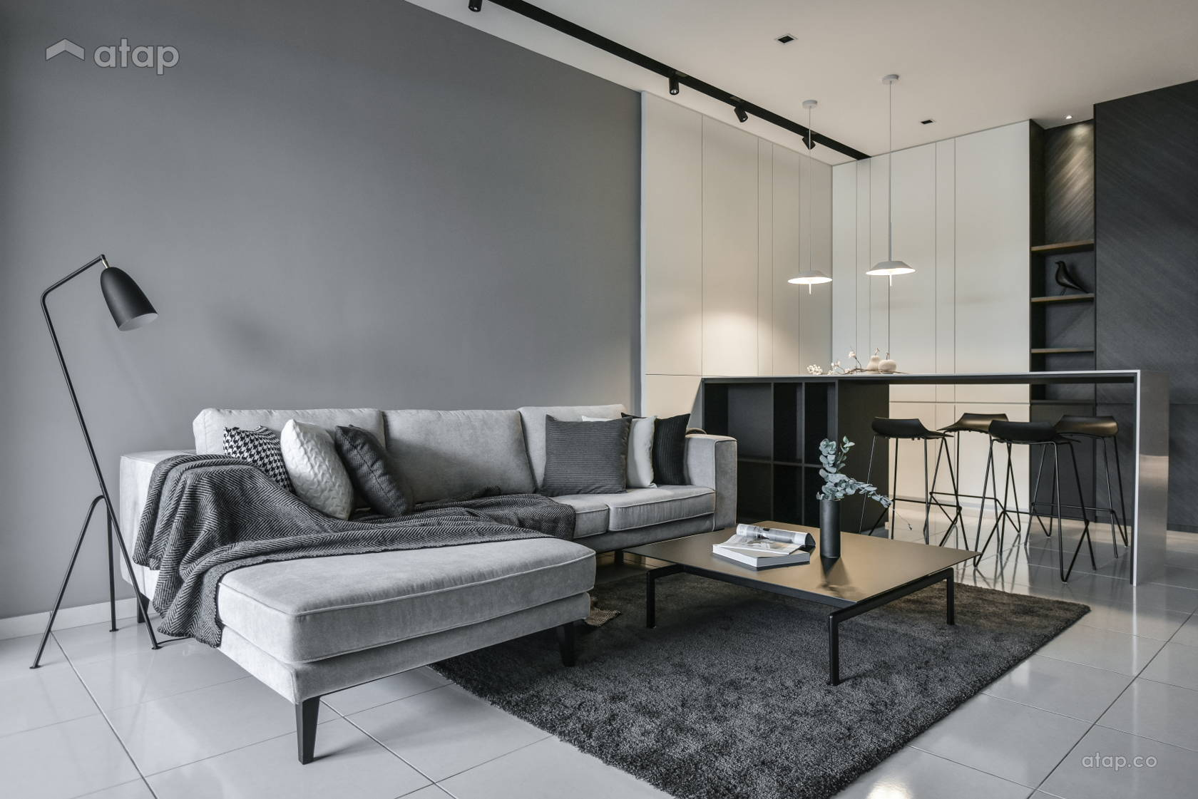 Minimalistic Scandinavian Living Room @ Dark brightness - Double storey terrace at Klang