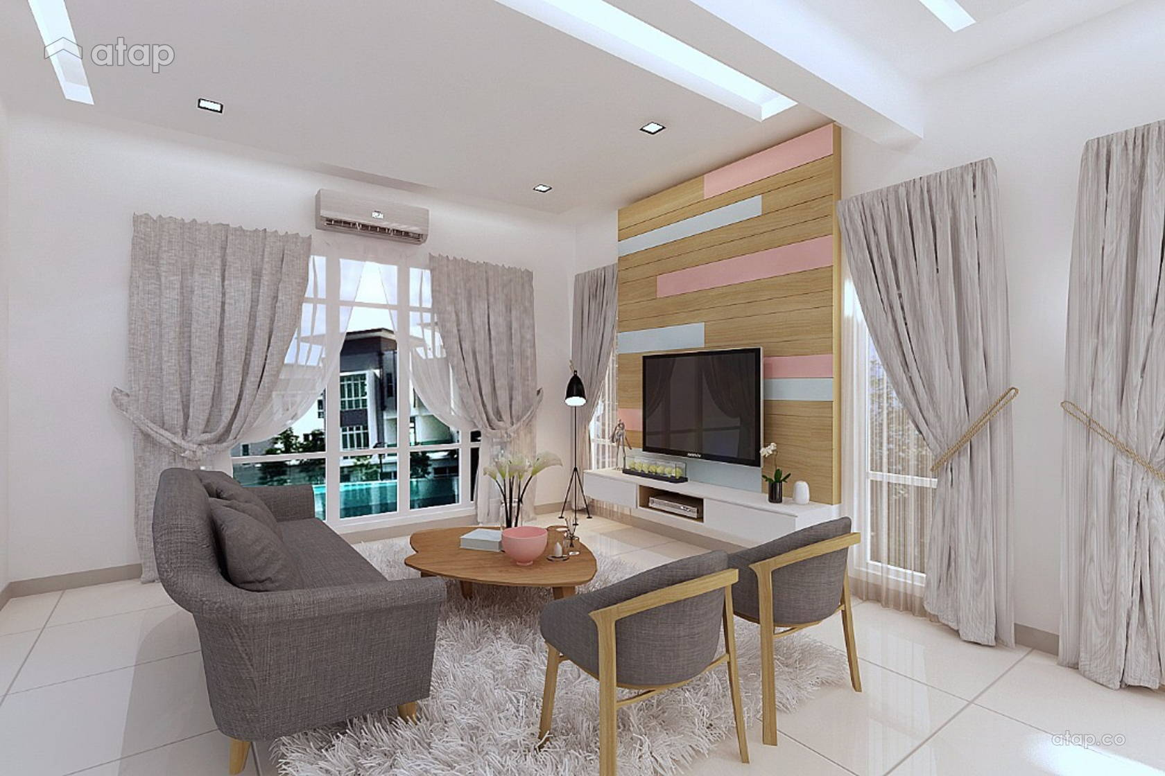 Scandinavian Living Room Terrace D Suite Horizon Hill