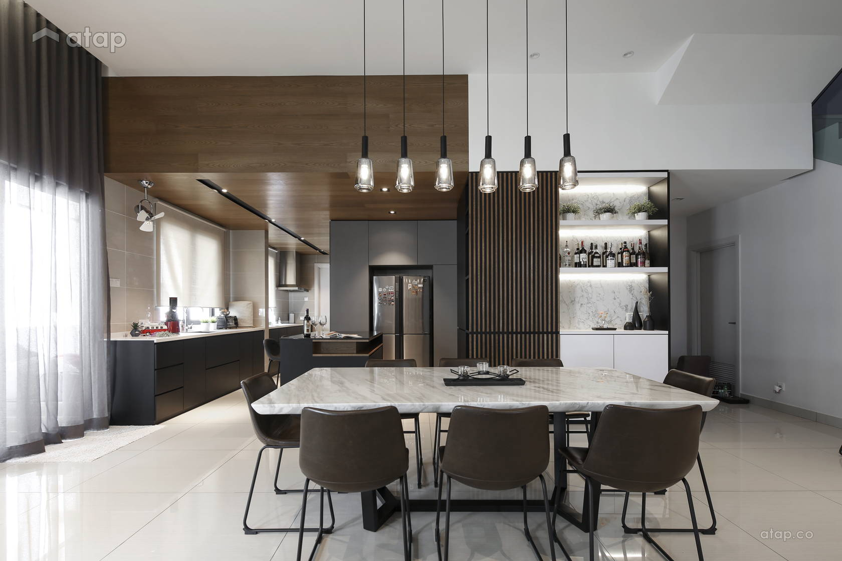 contemporary modern dining room kitchen semidetached