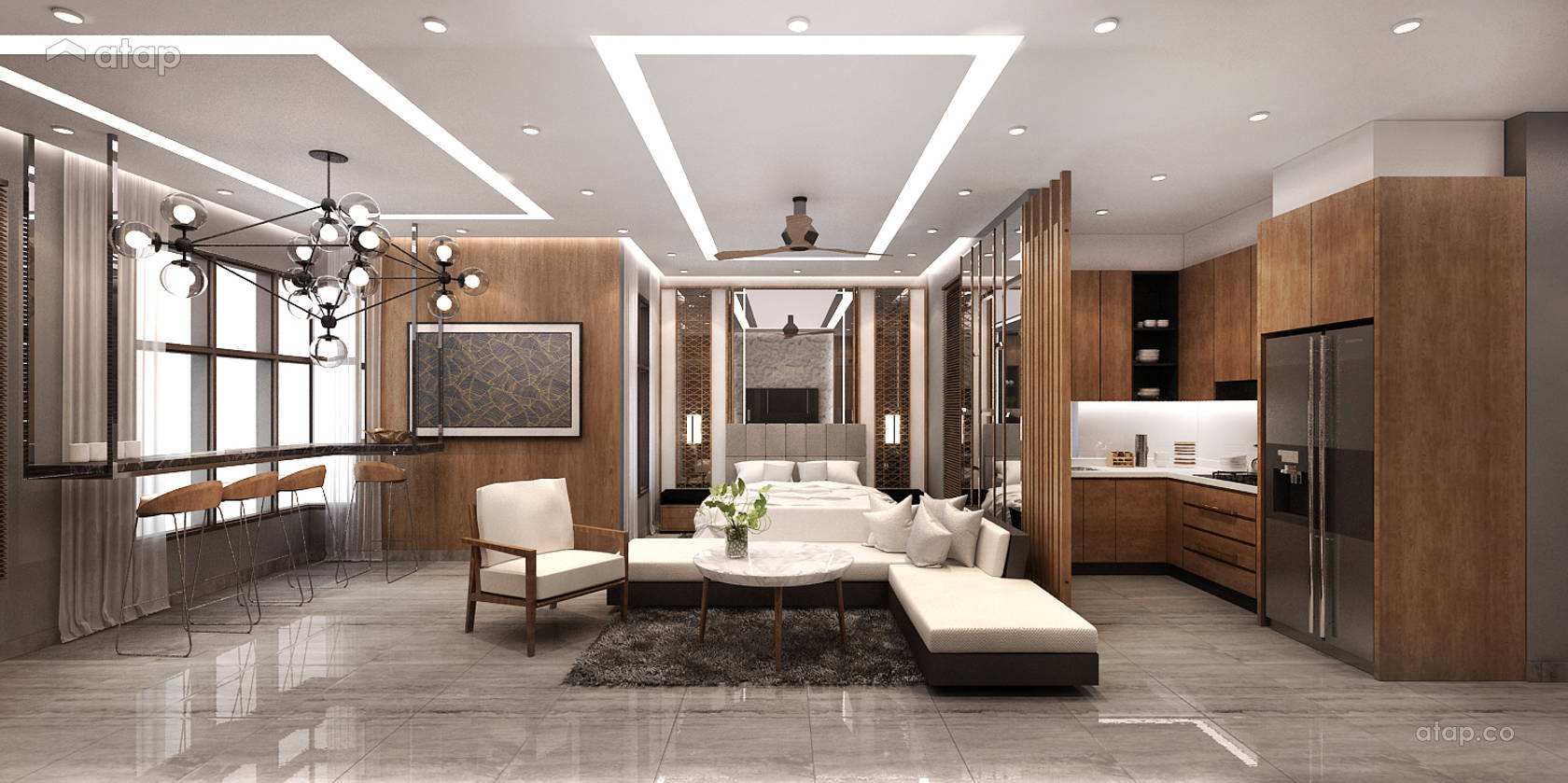 Contemporary Modern Dining Room Living Room @ Luxury Studio House @ 8 Kinrara