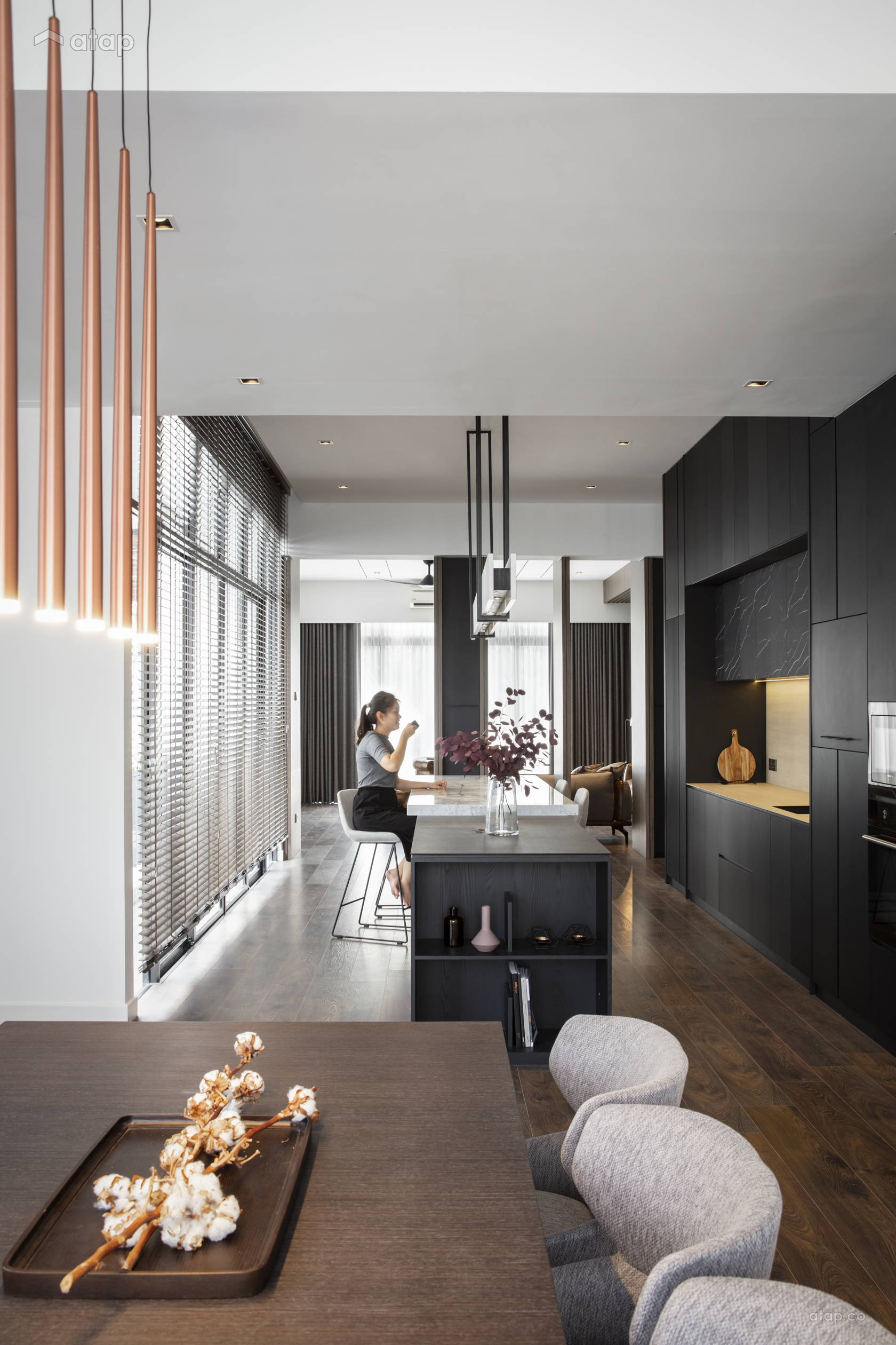 Contemporary Minimalistic Dining Room Kitchen Semi Detached Design Ideas Photos Malaysia Atap Co