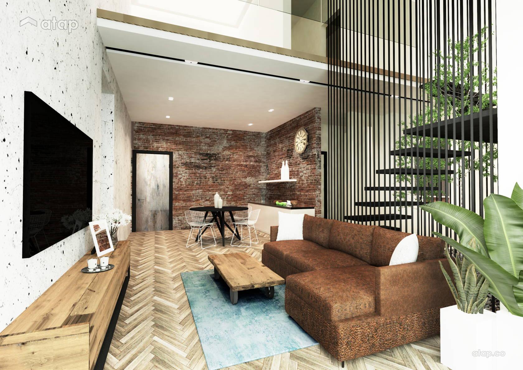 Country Rustic Living Room Condominium Design Ideas Photos