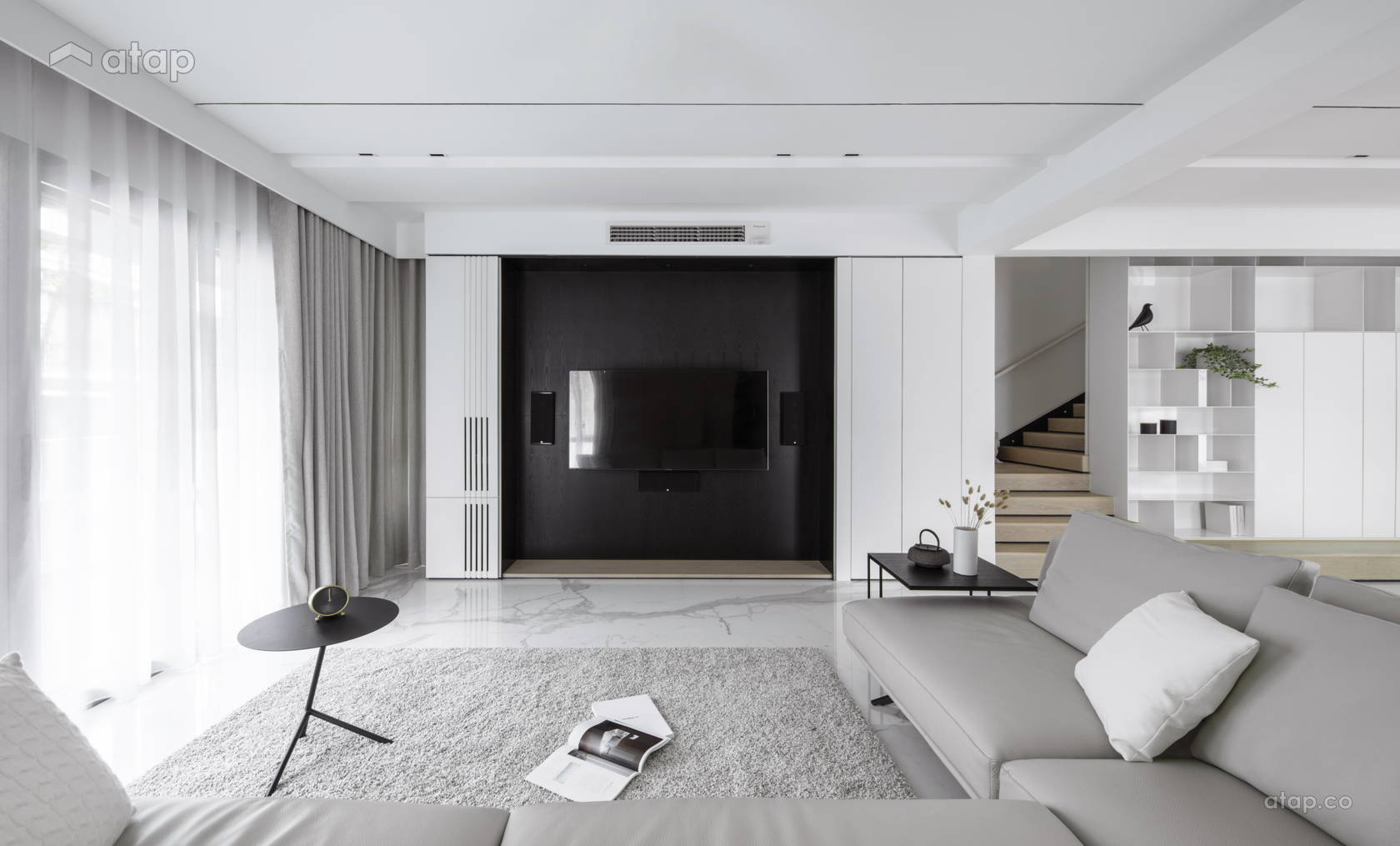 Contemporary Zen Living Room @ The impact of white - Double Storey, Desa parkcity