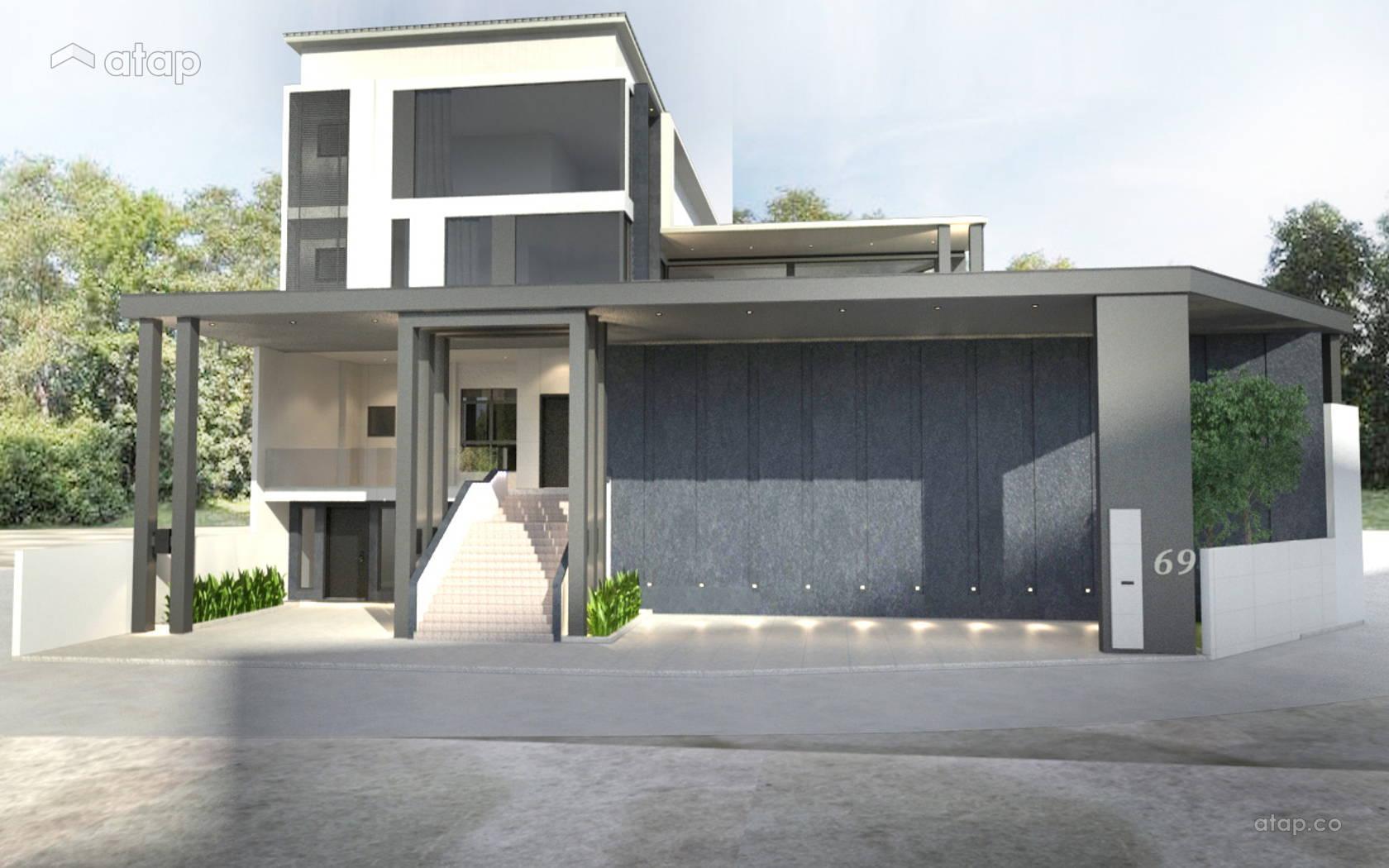Minimalistic Modern Balcony Exterior @ Rafflesia Bungalow @ Damansara Perdana