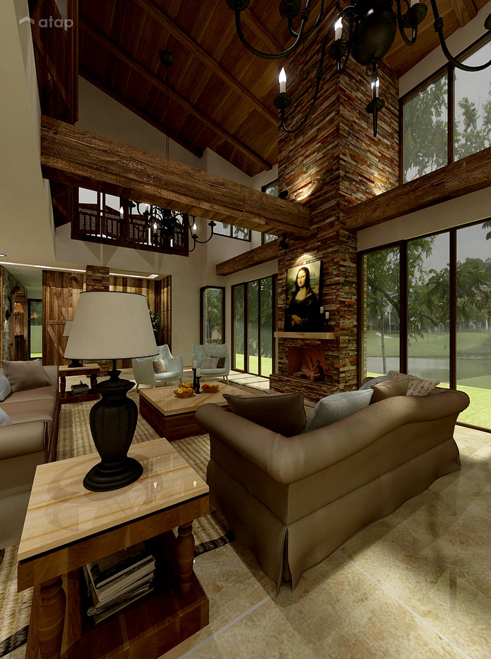 Rustic Living Room Bungalow Design Ideas & Photos Malaysia