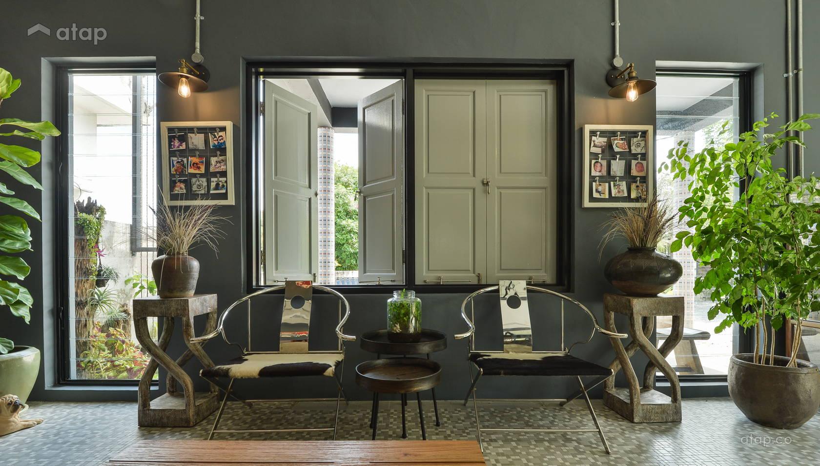 industrial vintage foyer living room semidetached design