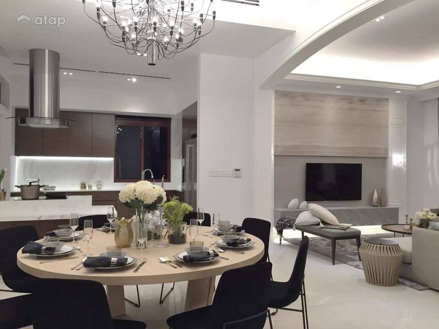 Classic Modern Dining Room Kitchen @ Diamond City Bungalow show unit interior design and fit-out work