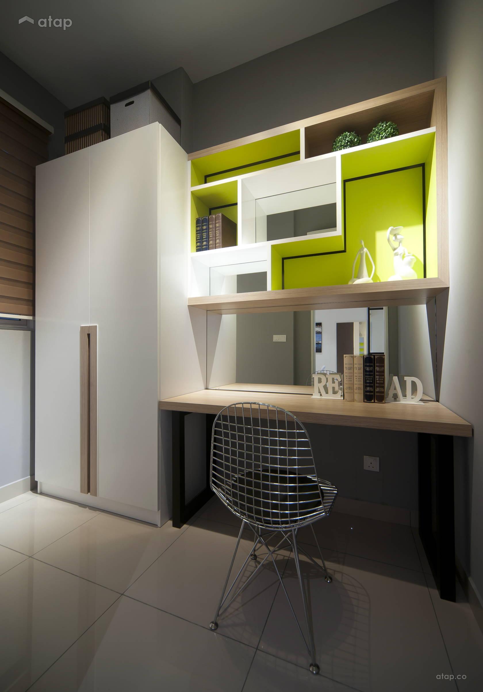 Condominium Study Room: Contemporary Modern Bedroom Study Room Condominium Design