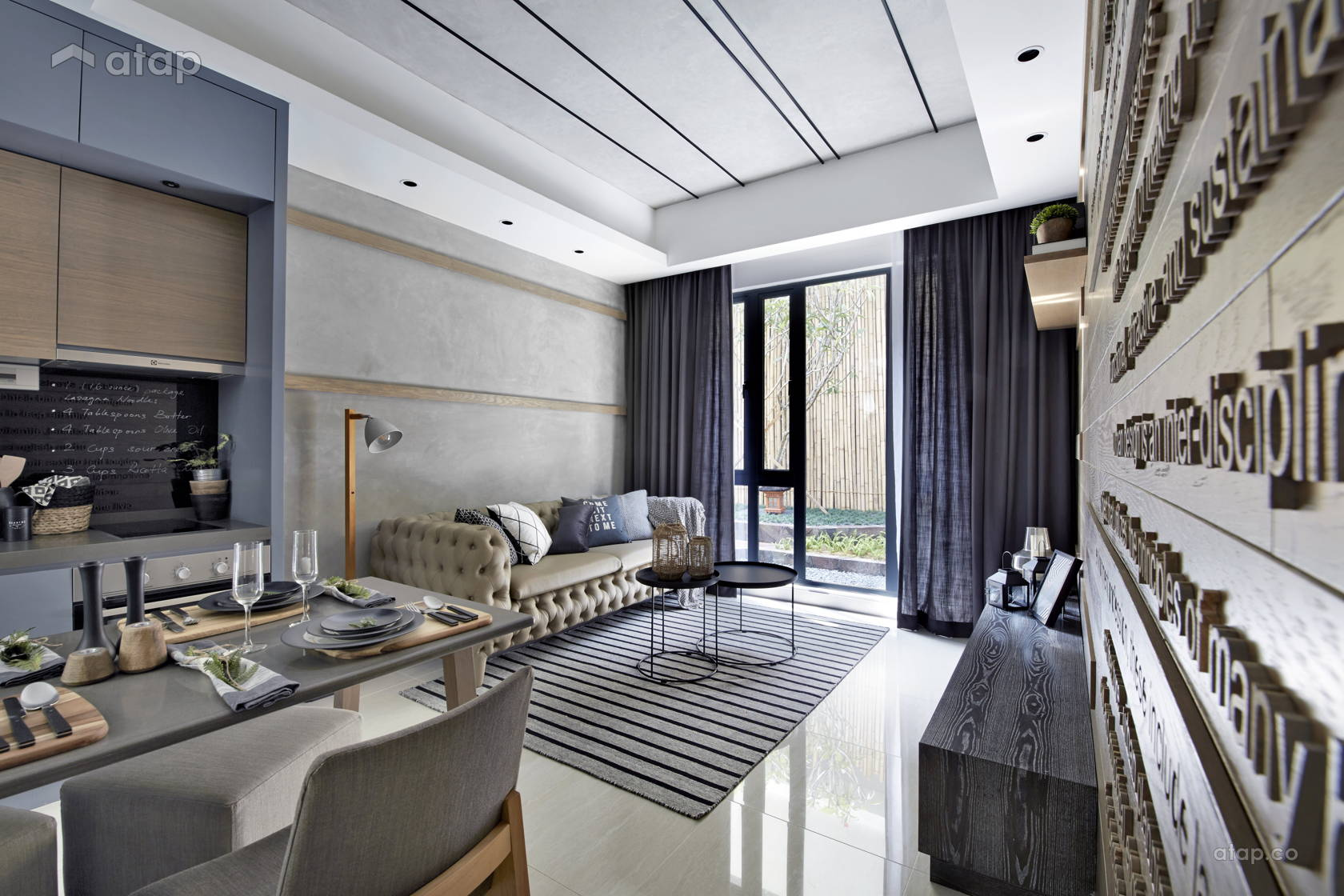 Contemporary Rustic Living Room @ Sentral Suites Type B