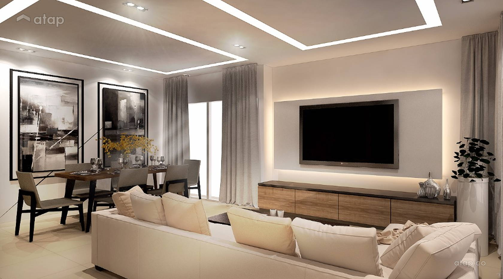 Delicieux Contemporary Modern Living Room Semi Detached Design Ideas ...