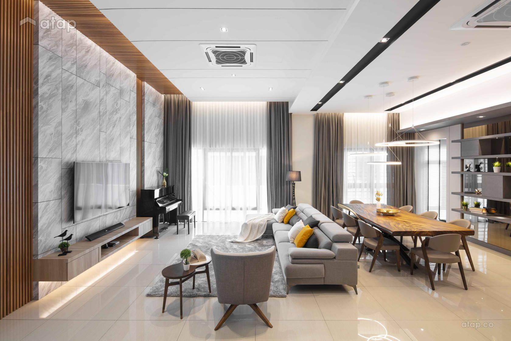Contemporary Zen Living Room semi-detached design ideas ...