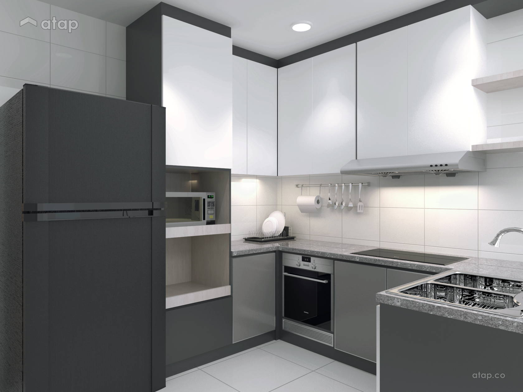 Modern Kitchen @ Sky Peak Residential Muji Style Design