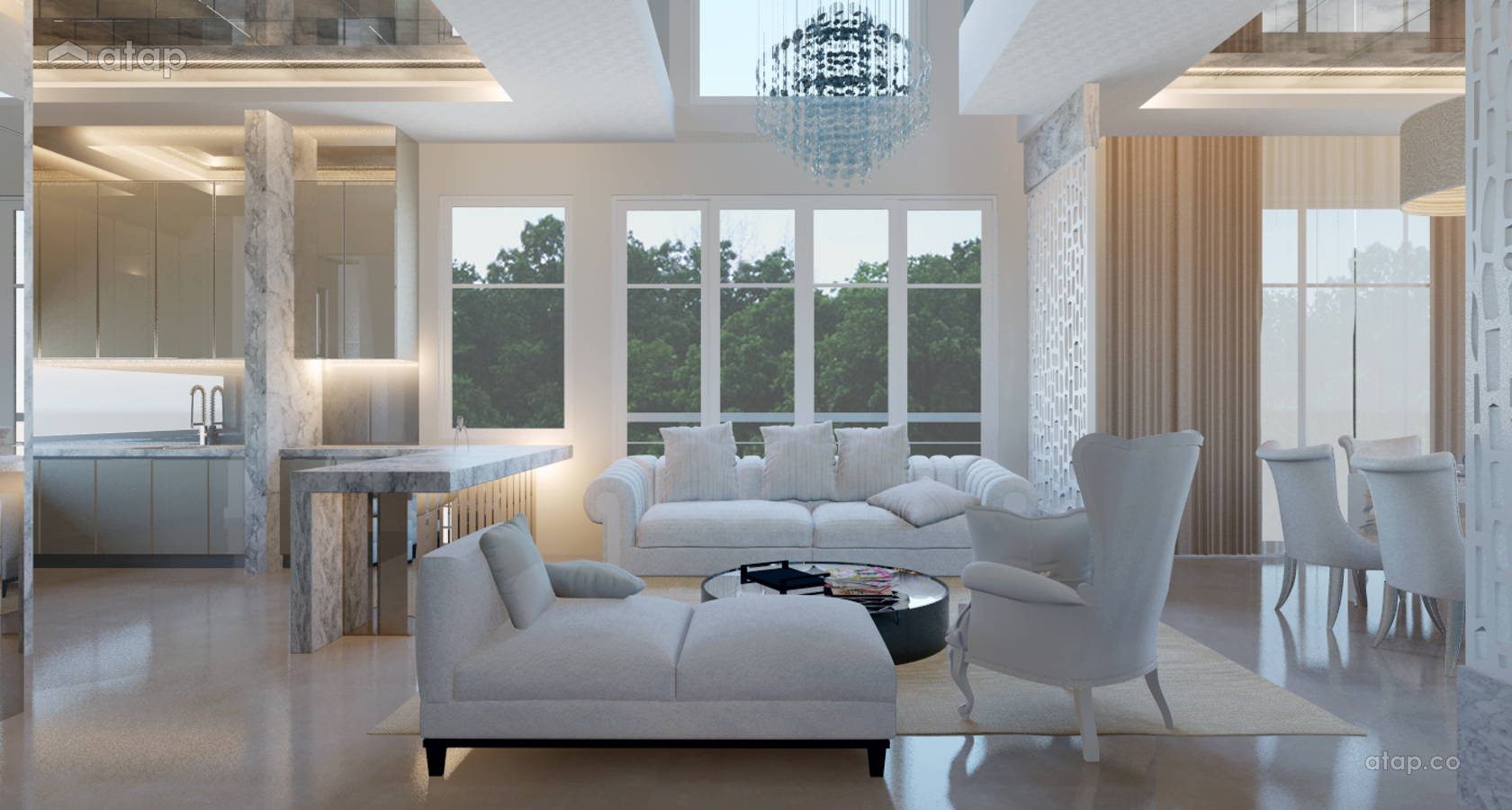 Contemporary Modern Living Room @ 4 Storey Semi D - Damansara