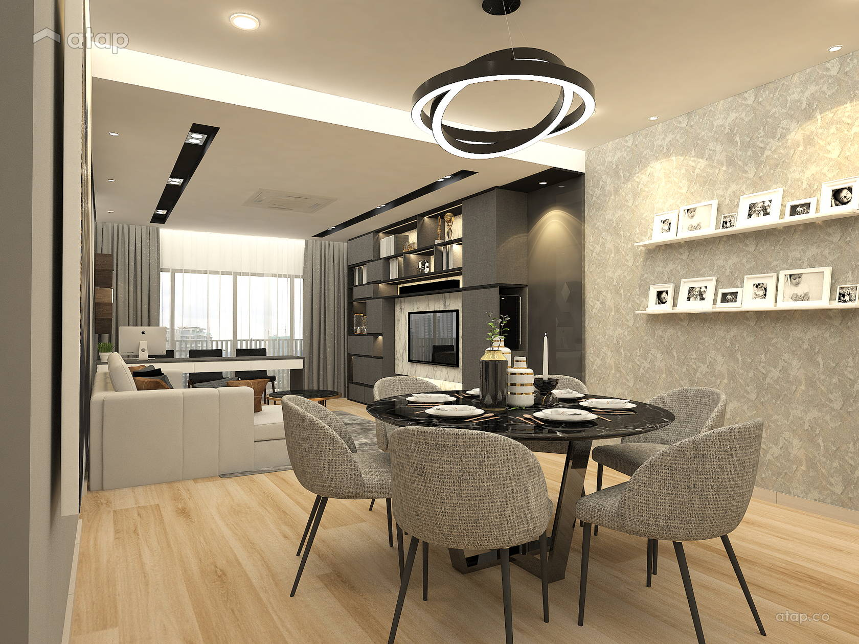 Contemporary Modern Dining Room Living Room condominium ...