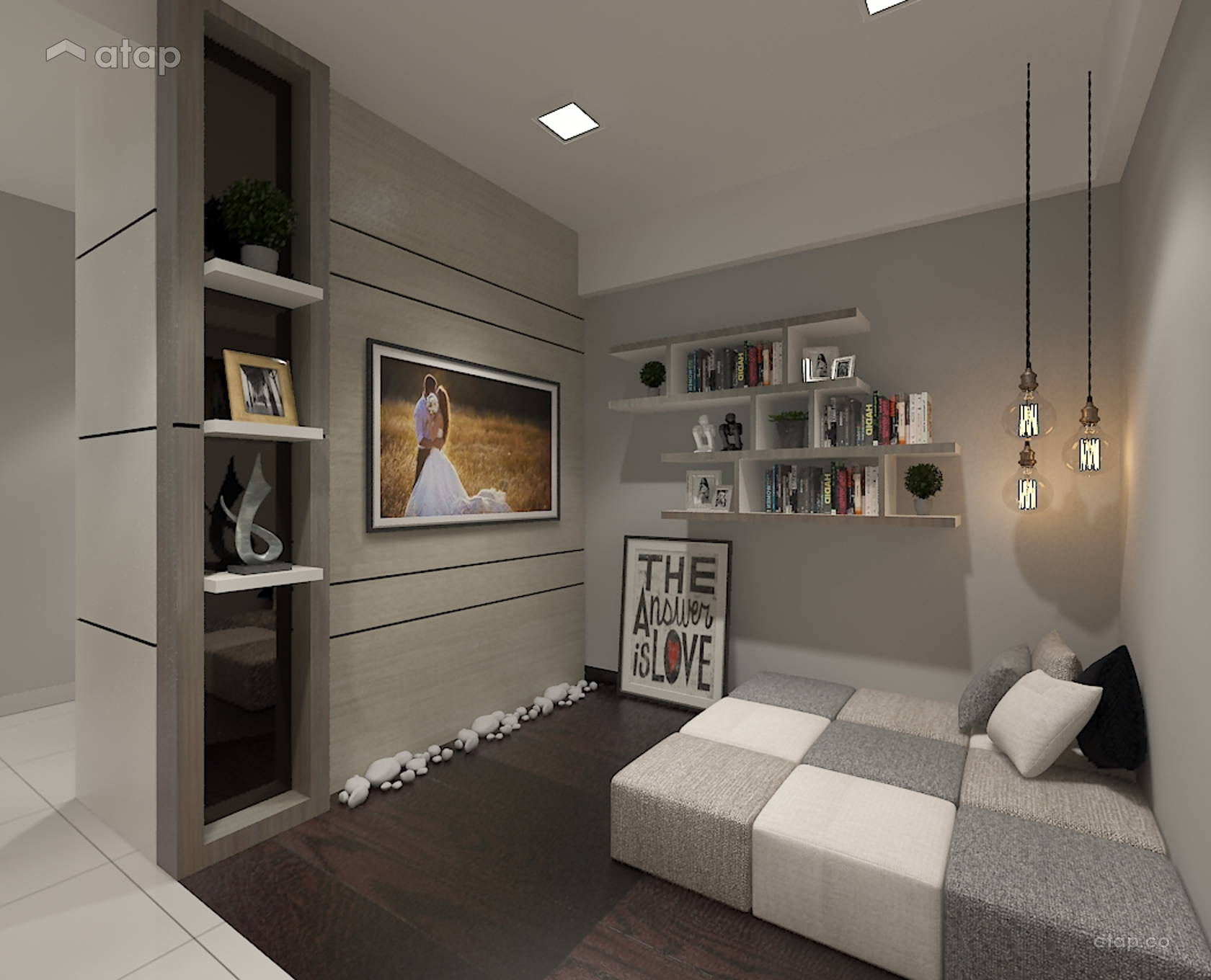 Contemporary Modern Family Room @ The Leafz, Sungai Besi