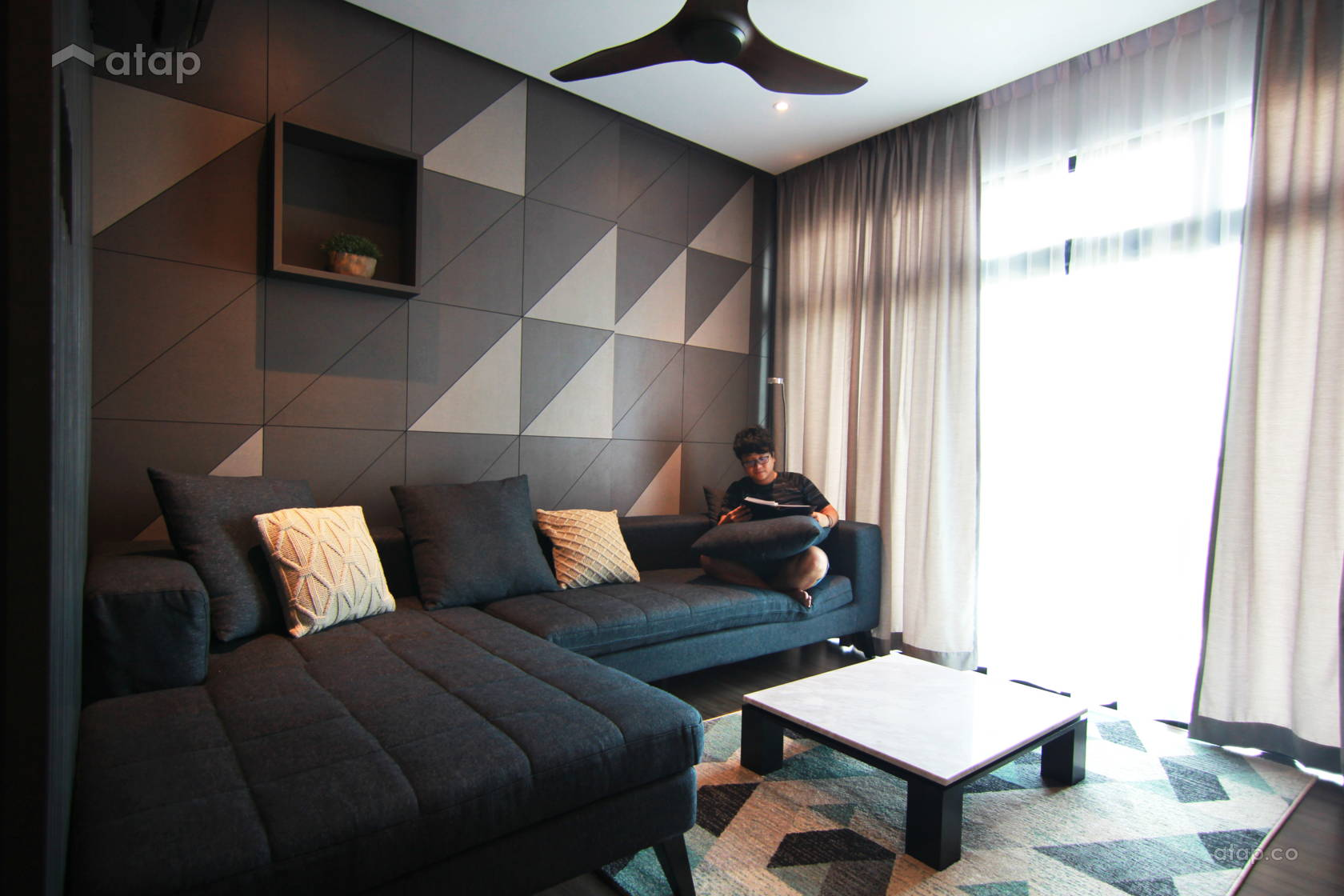 Contemporary Modern Living Room @ Sky Peak Residences