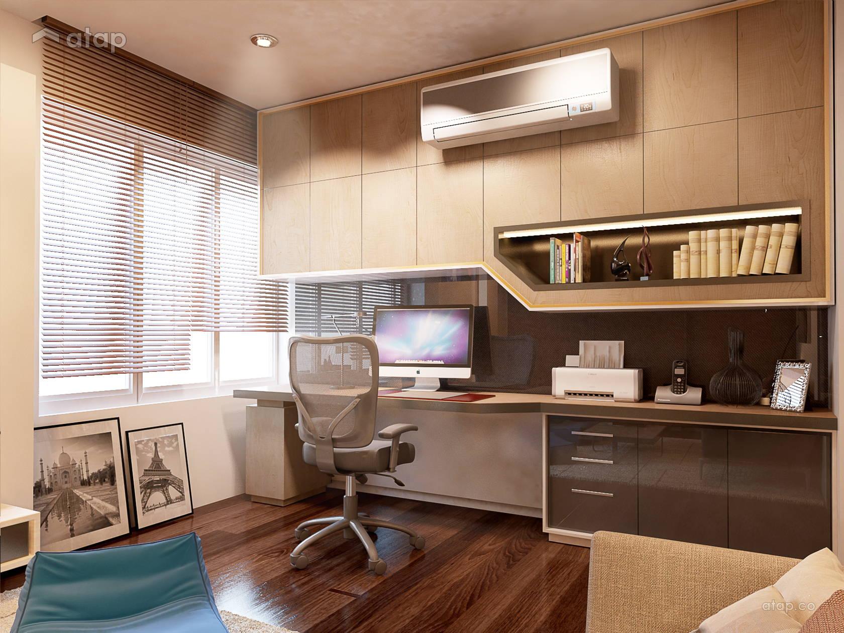 Contemporary study room semi detached design ideas - Modern study room ideas ...