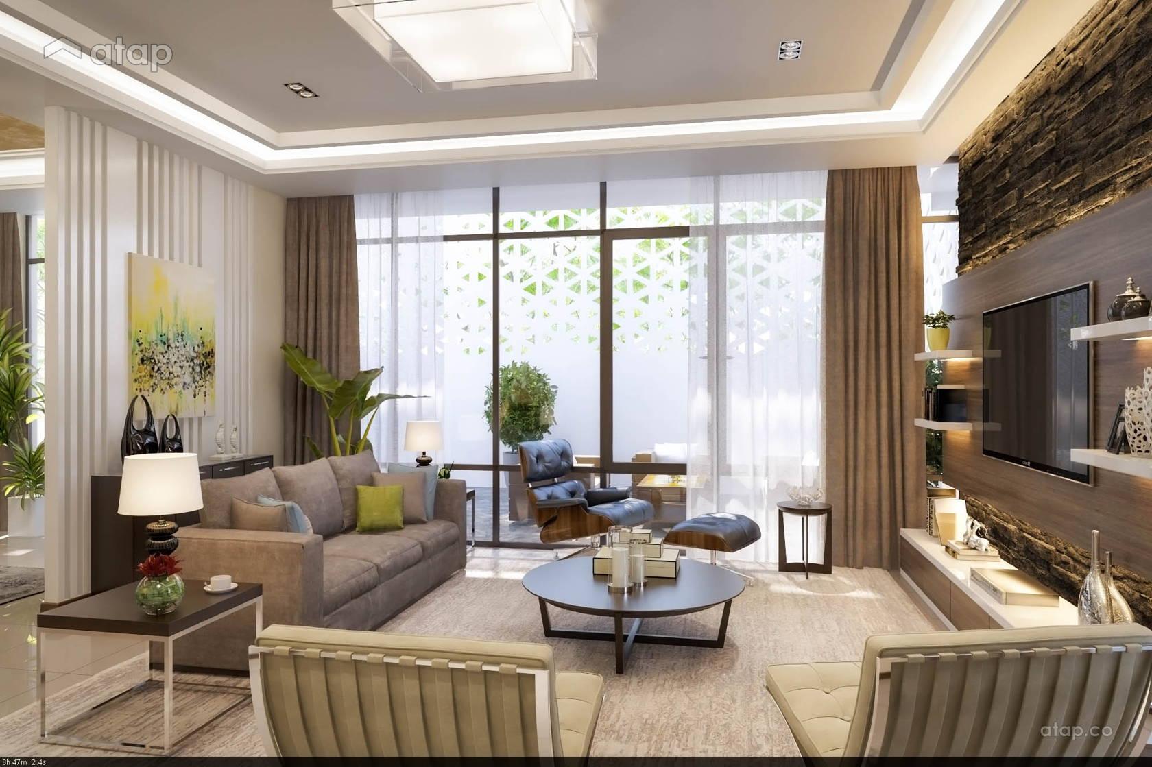 Asian Scandinavian Family Room Living Room condominium design