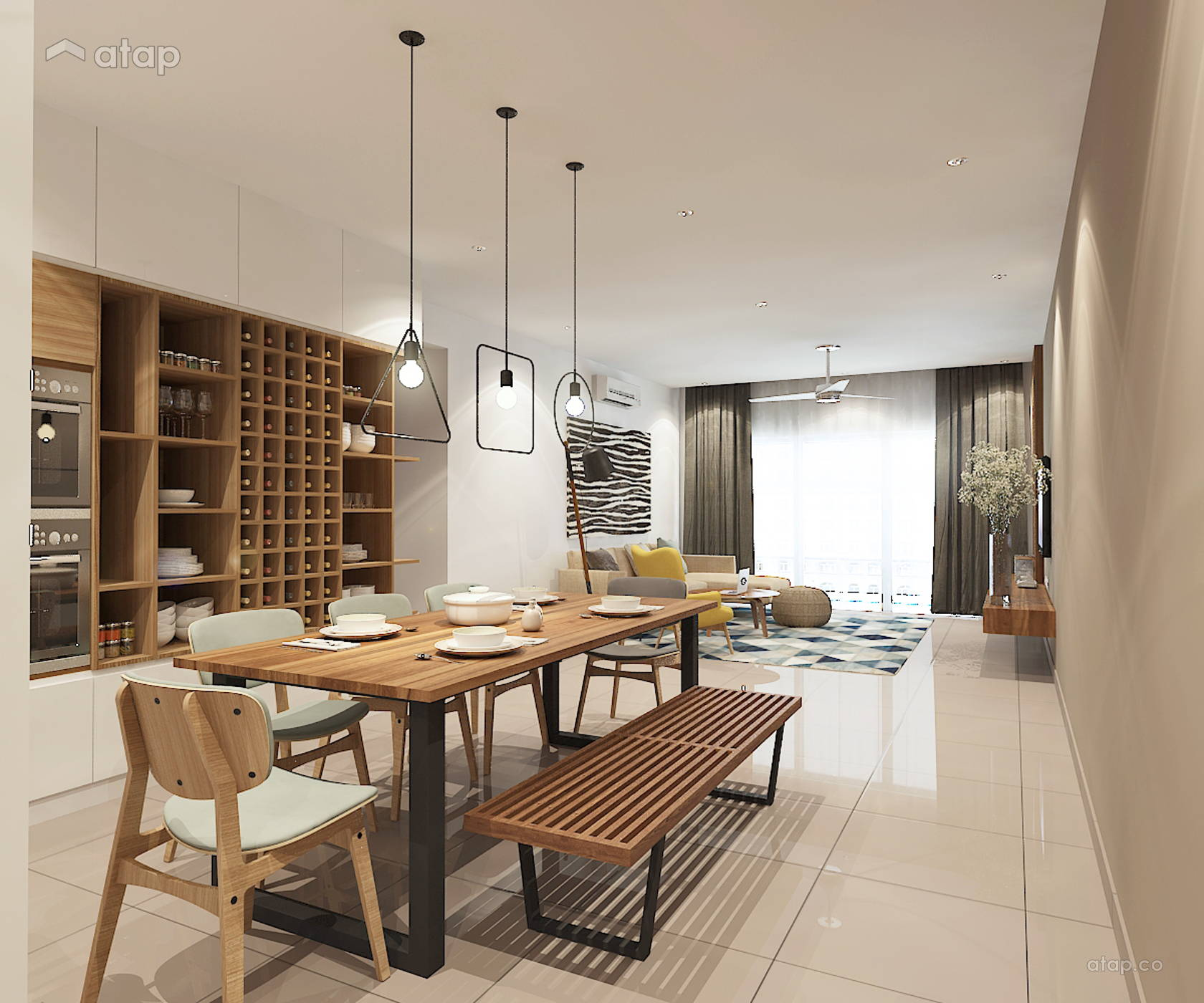 Modern Zen Dining Room Living Room Condominium Design Ideas & Photos Malaysia