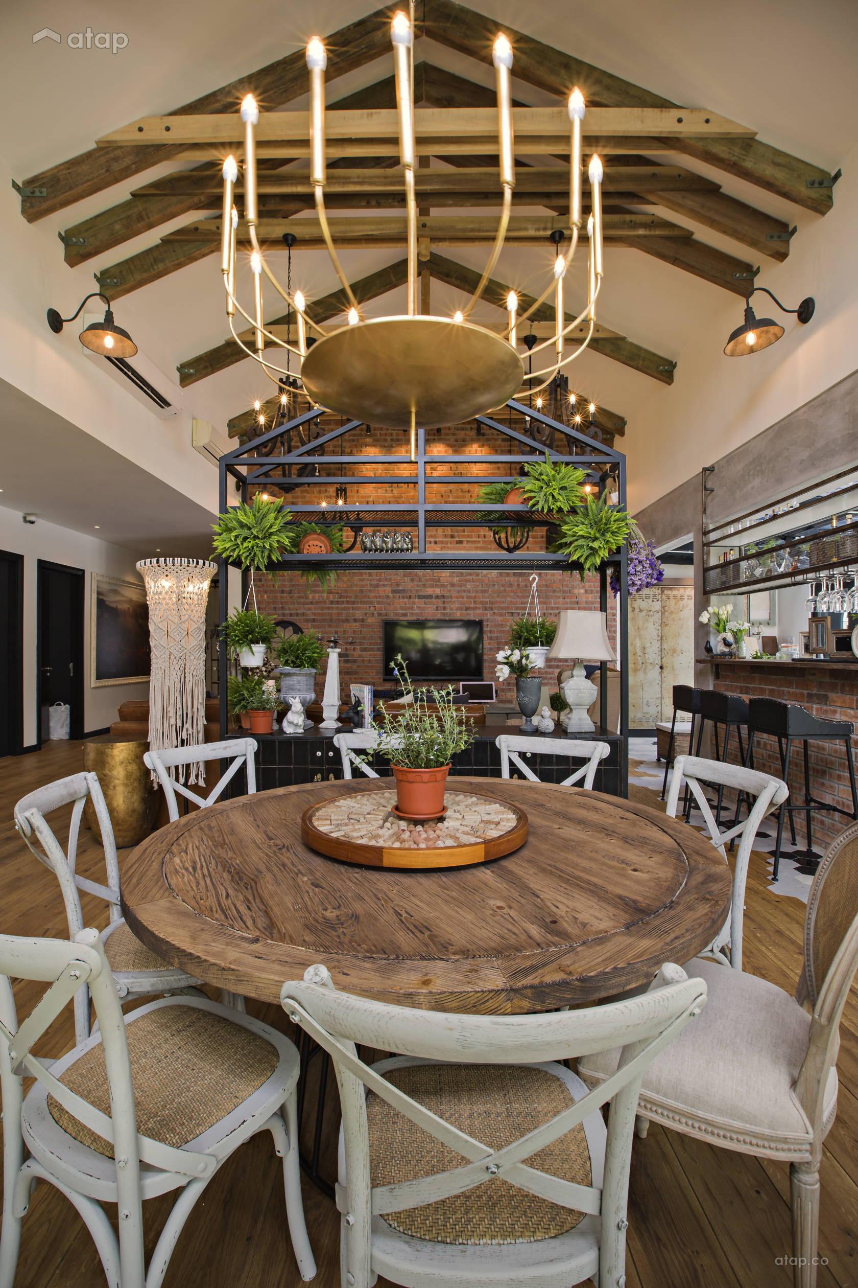 Rustic Vintage Dining Room Living Room Bungalow Design Ideas