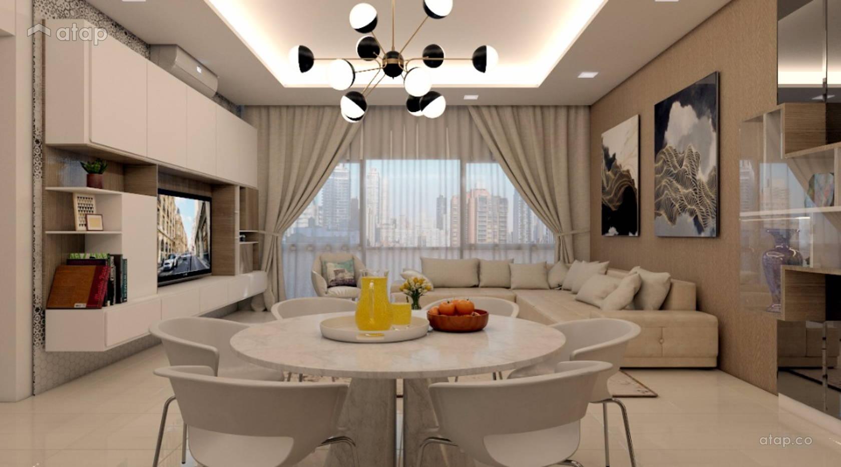 Modern Dining Room Living Room Condominium Design Ideas Photos Malaysia Atap Co