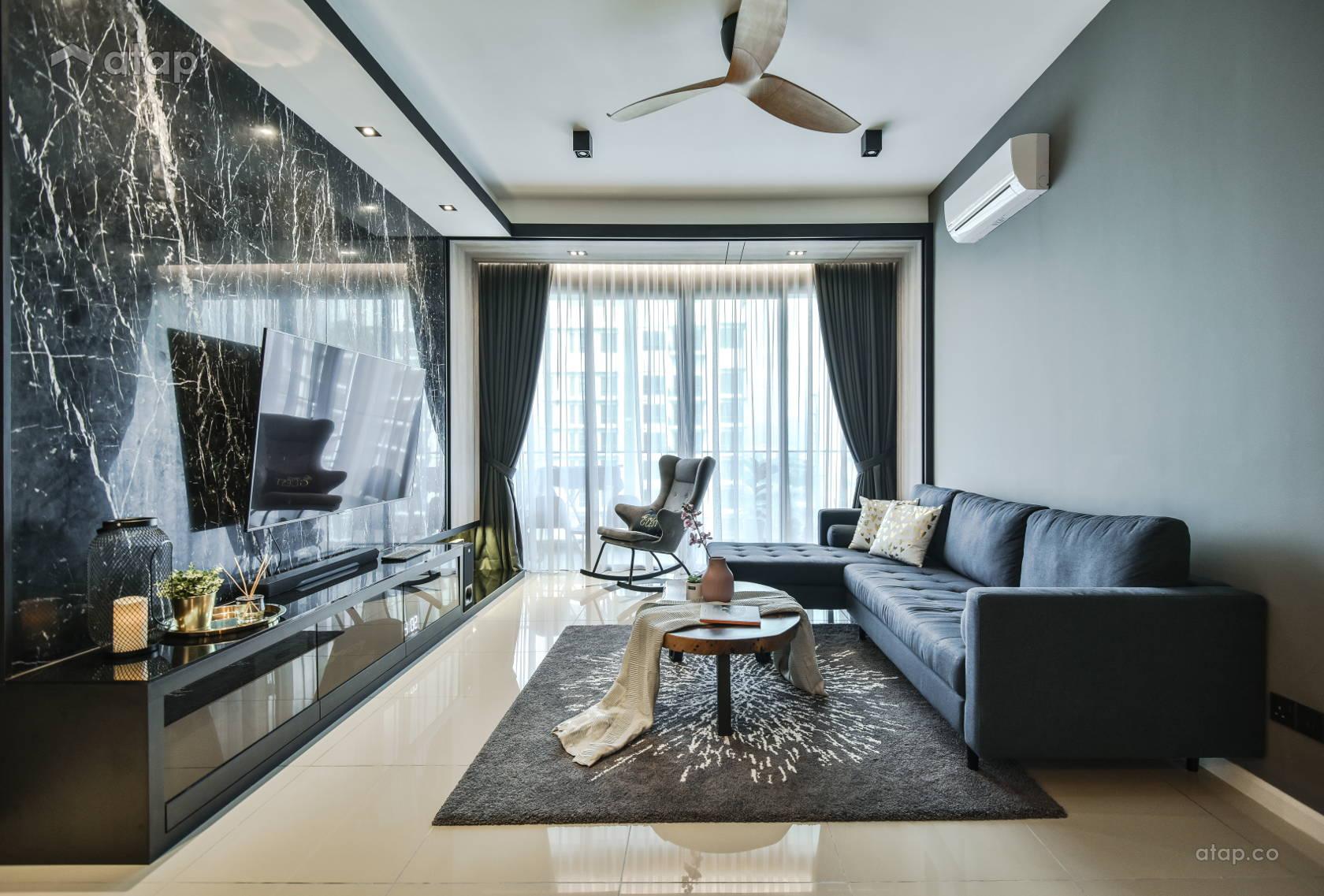 Contemporary Modern Living Room @ Anjali Residence Family Home