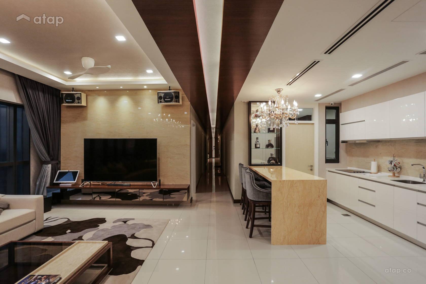 Contemporary Modern Dining Room Kitchen Condominium Design