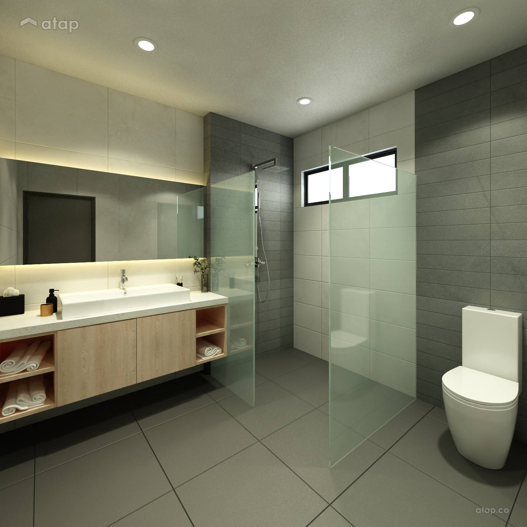 Classic minimalistic bathroom semi detached design ideas for Bathroom ideas malaysia
