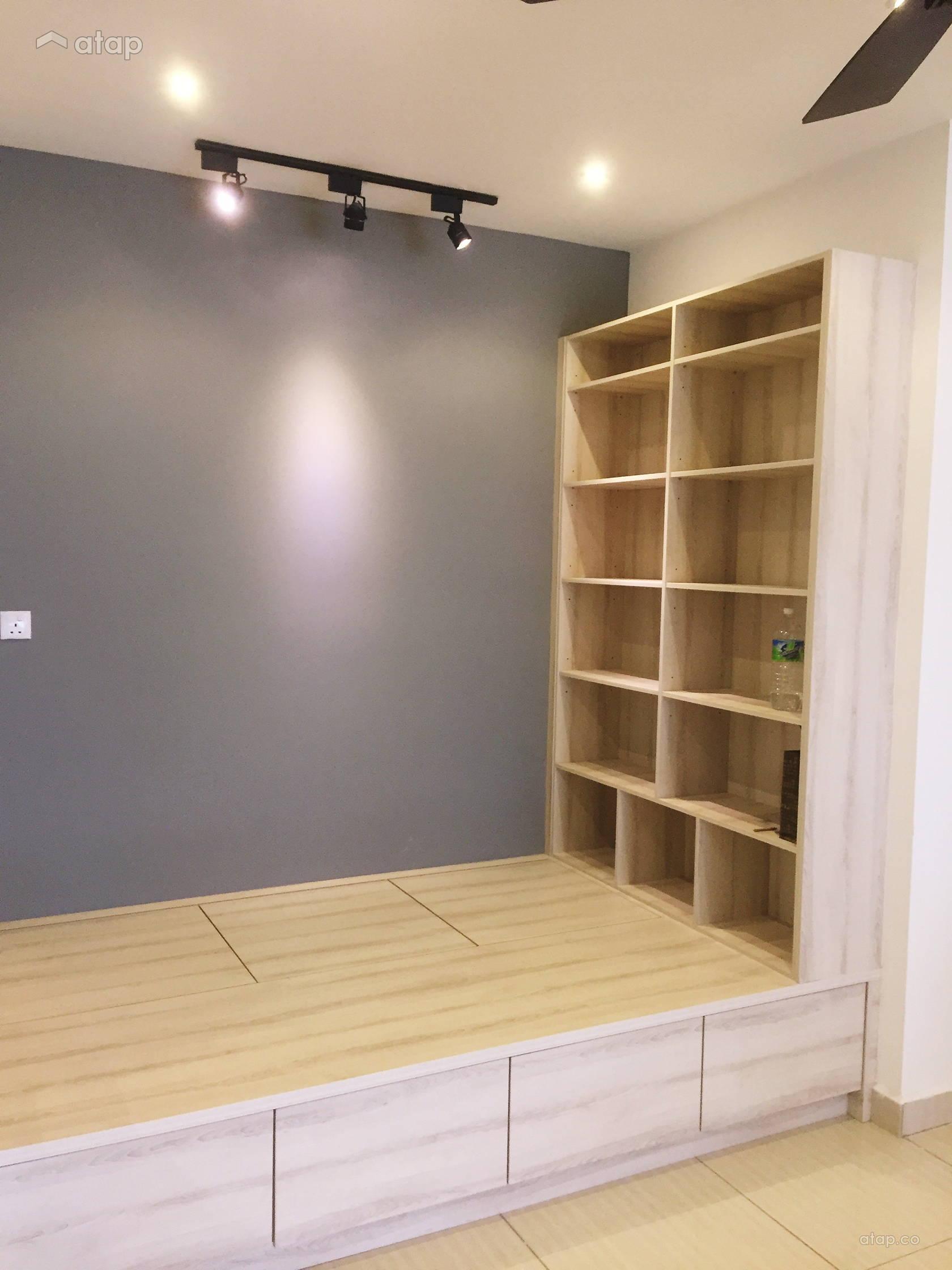 Condominium Study Room: Minimalistic Modern Living Room Study Room Condominium