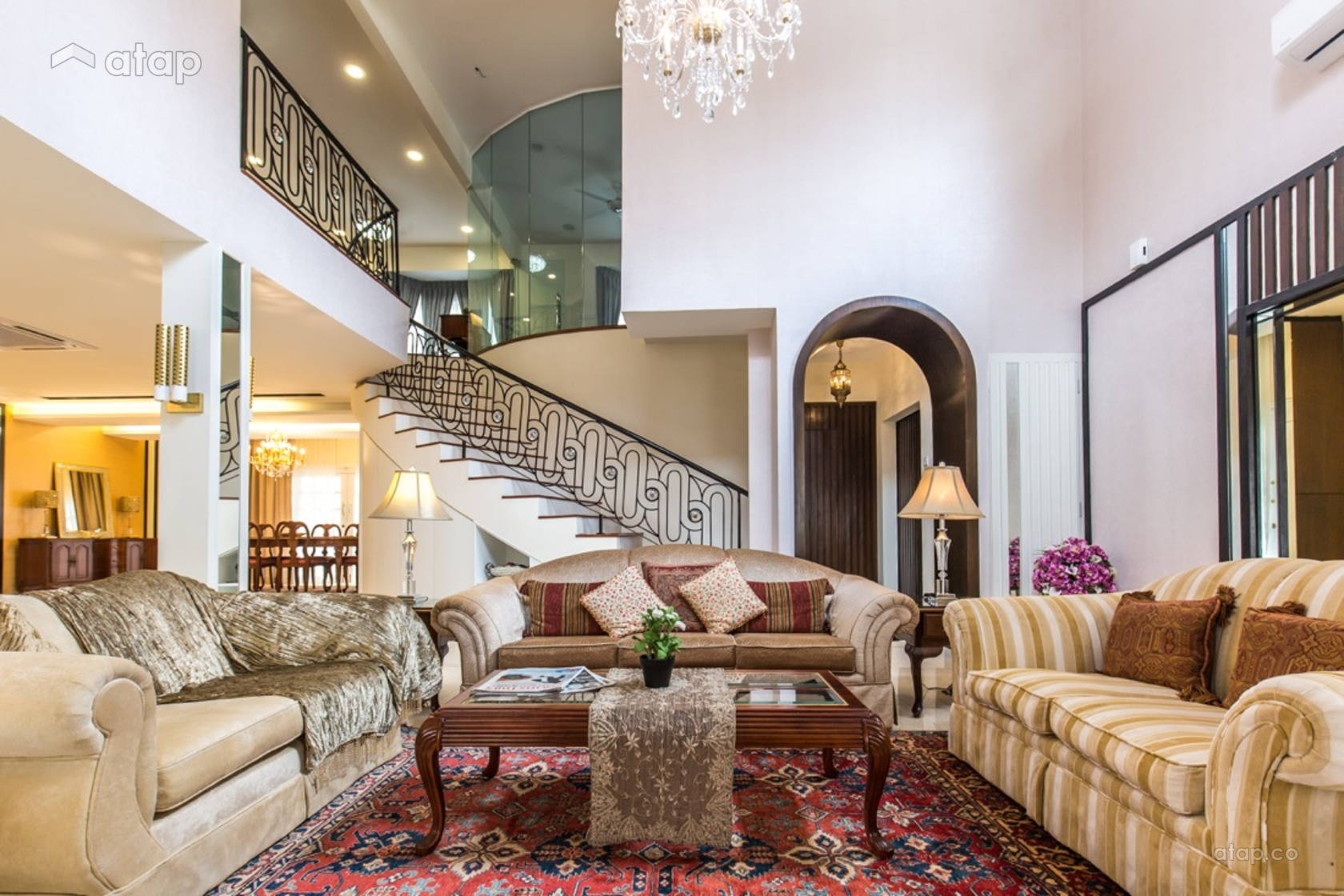 Classic Country Living Room @ Luxury classic bungalow at Taman TAR. Interior design and build by Klaas.