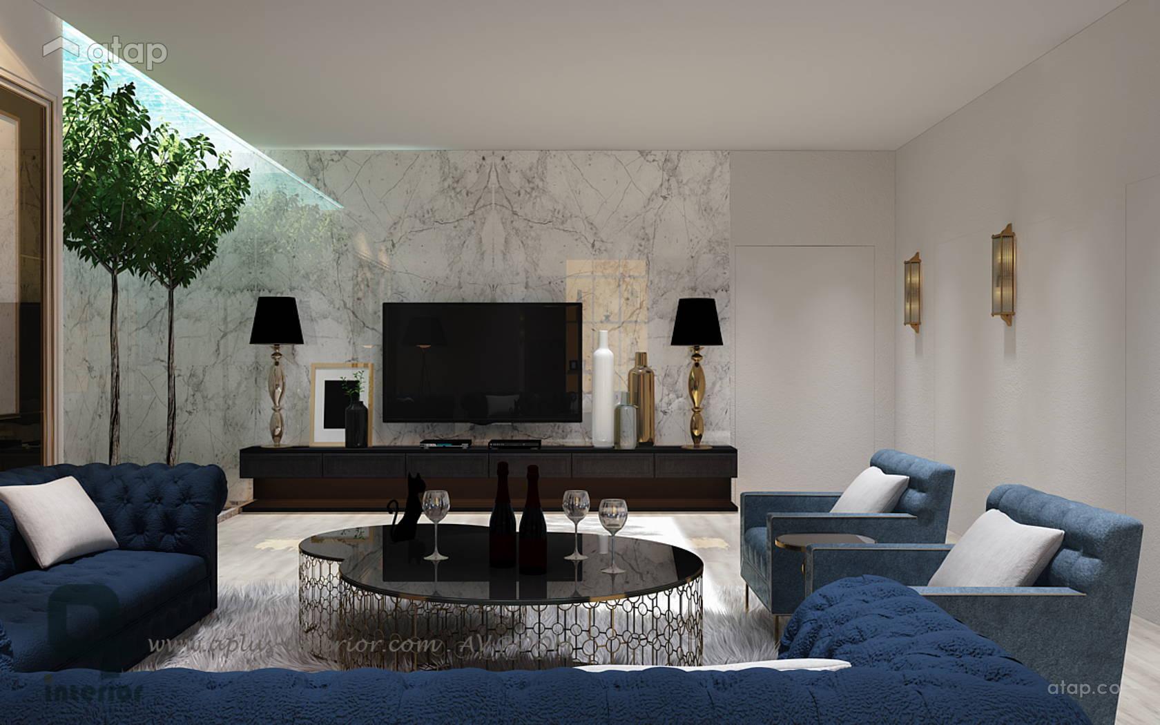 Modern Vintage Family Room Living Room @ Rafflesia Bungalow @ Damansara Perdana