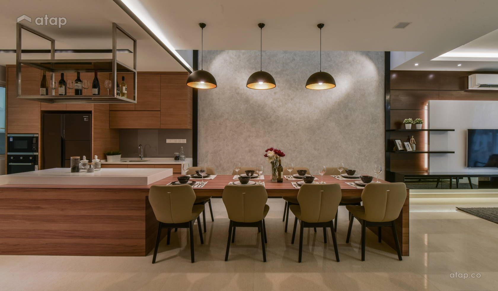 Contemporary Dining Room Kitchen @ Scenaria Residence Townhouse