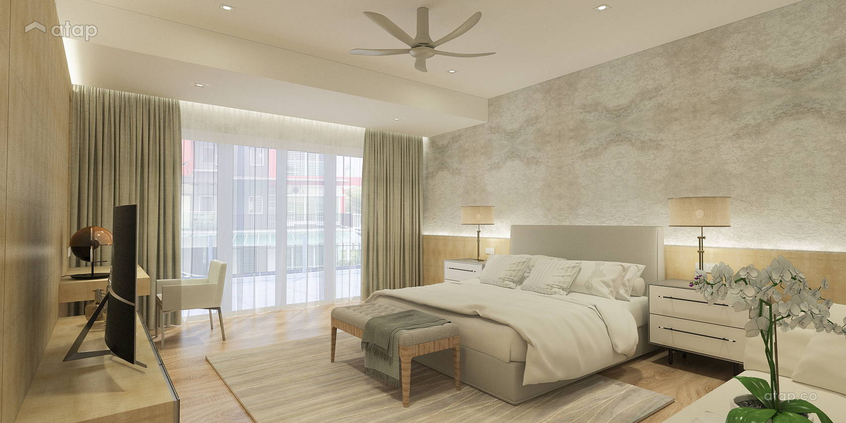 Contemporary Modern Bedroom @ Mr Robert's Corner Lot Residence