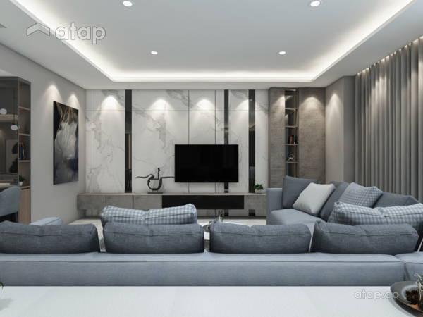 Contemporary Modern Living Room@Modern Stylist Condominium @ Zehn Bukit Pantai Condo