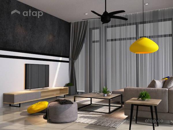 Contemporary Minimalistic Family Room Living Room@COMFORT AIR BNB @ Arte Plus