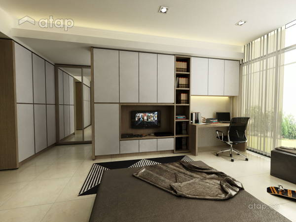 Contemporary Modern Study Room Bedroom @ Mazelan Bungalow   (Ginormous  Modern Fusion... InDfinity Design