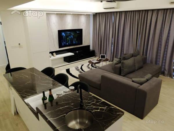 Contemporary Modern Dining Room Living Room@Minimalism and Monochrome Modern Condominium