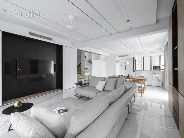 Minimalistic Zen Kitchen Living Room@The impact of white - Double Storey, Desa parkcity