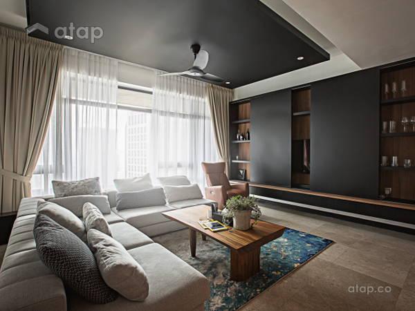 Contemporary Living Room@Sleek and dark