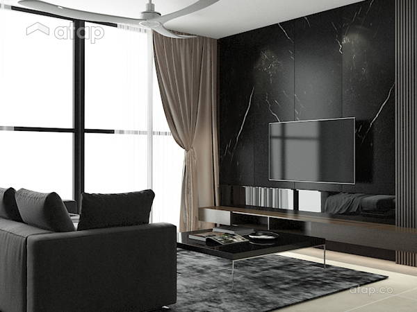 Contemporary Living Room@Solemn, sleek interior- A house of their own